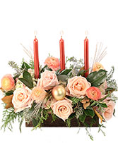 Calming Peach Roses Centerpiece