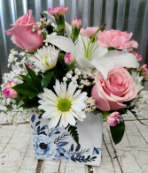 Camilla Rose Basket Floral in Wooden Basket