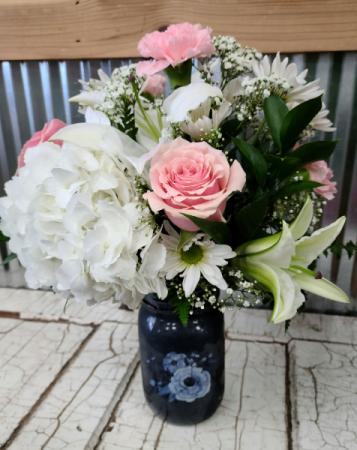 Camilla Rose Vase Floral Arrangement in Mason Jar Vase