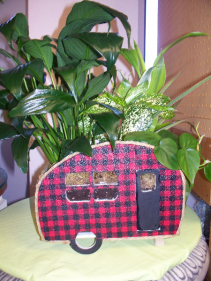 Camper with Plaid Dishgarden