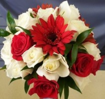 White & Red Nosegay Bridal Bouquet