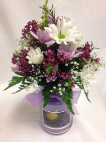 Pleasing Purple Candle Arrangement Fresh Flowers/Candle