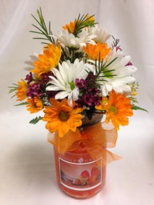 Sunrise Orange Candle Arrangement Fresh Flowers/Candle in Detroit Lakes, MN | DETROIT LAKES FLORAL