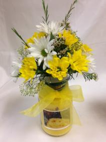 Yellow Sunshine Candle Arrangement Fresh Flowers/Candle