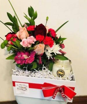 Candle Bloom Box  Valentine's Day Bloom Box in Prairie Grove, AR | The Petal Peddler Flower Shop