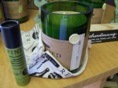 wine scented candles in recycled wine bottles