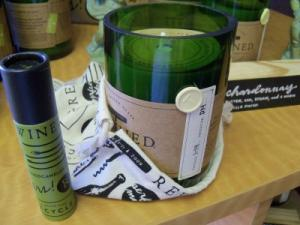 wine scented candles in recycled wine bottles  in Athens, GA | FLOWERLAND