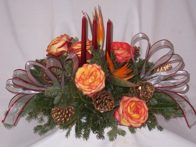 Christmas Candle Centerpieces Shimmers Golden Ruby Christmas Centerpiece Arrangements - Roses and Birds of Paradise with Pinecones