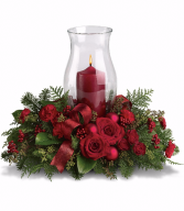 Candlelight Christmas centerpiece with hurricane and candle