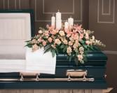 Candles and Arrangement  Casket Arrangement