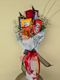 Candy Bar Wrapped Bouquet Candy and Rose