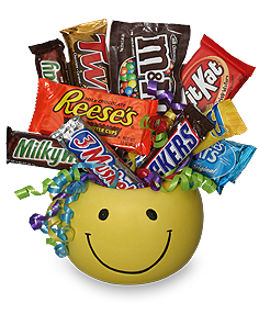 Candy Bouquet  Smiley Face Container with Candy
