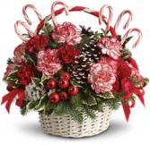 Candy Cane Basket Arrangement.