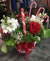 Candy Cane Basket Holiday Arrangement