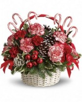 Candy Cane Basket Holiday Basket Arrangement