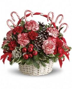 Candy Cane Basket Holiday Basket Arrangement