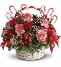 Candy Cane Christmas Basket Arrangement