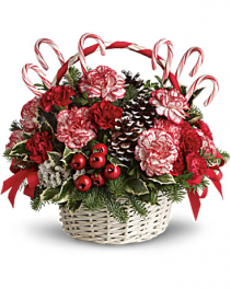 Candy Cane Christmas Basket Christmas arrangement