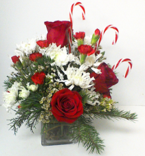 Candy Cane in a Cube table top arrangement