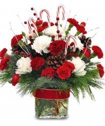 Candy Cane Christmas Vase Arrangmet