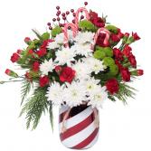 Candy Cane Christmas Vased Arrangement