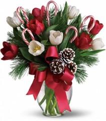 Candy Cane Lane vase arrangement