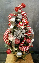 Candy Cane  Mini Artificial Plug-In Tree