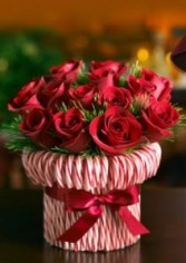 Candy Canes and Roses Winter Flower Araangement