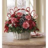 Candy Canes n' Pine Cones Basket Arrangement