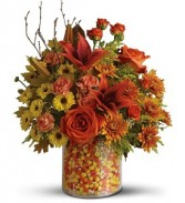 Candy Corn Surprise Treat & Flower Arrangement
