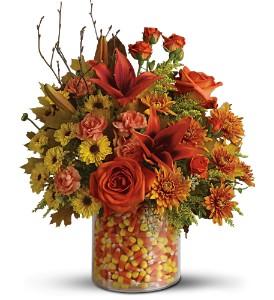 Candy Corn Surprise Treat & Flower Arrangement