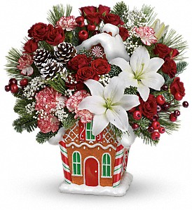 Candy Cottage Bouquet PM Christmas Gift Arrangement in Los Angeles, CA | MY BELLA FLOWER