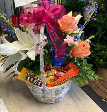 Candy & Floral Combo Basket  Basket