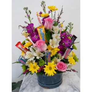 Candy & Flower bouquet Designer choice in Kingston, TN | ROSEMARY'S FLORIST & CUPCAKE HAVEN