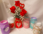 """ALL TIME FAVORITE!!! """"CANDY HEARTS"""" BOUQUET   3 RED ROSES ARRANGED WITH BABY'S BREATH AND RED HEART PIC!(WE WILL CHOOSE COLOR OF MASON JAR SINCE EACH COLOR HAS A LIMITED SUPPLY...ALL VERY CUTE!)"""