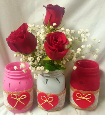 """CANDY HEARTS"" VERY POPULAR MASON JAR WITH CUTE  DECOR and 3 Red Roses with baby's breath!"