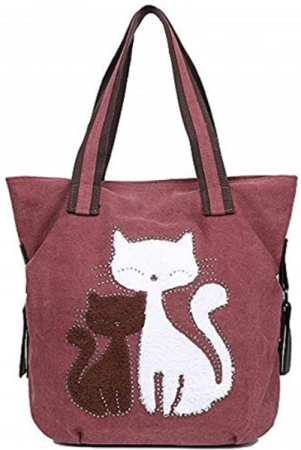 Canvas Cat Tote ~ burgundy