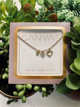 Canvas Necklace three hearts