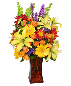 Canyon Sunset Arrangement in Redding, CT | Flowers and Floral Art