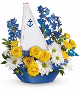 Captain Care Free Keepsake Container Arrangement  in Cape Coral, FL | ENCHANTED FLORIST OF CAPE CORAL