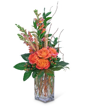 Captivating Coral Flower Arrangement in Nevada, IA | Flower Bed