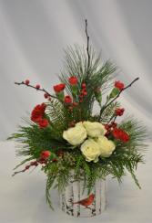 CARDINAL AND BIRCH  FRESH FLOWER ARRANGEMENT