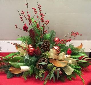 Cardinal centerpiece  floral arrangement