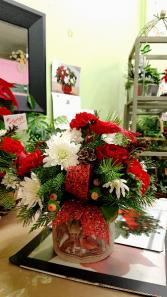Cardinal Christmas Pot Arrangement