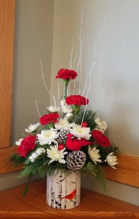 Christmas Cardinal Floral Arrangement