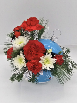 Cardinal in the Snow  Floral Arrangement in Presque Isle, ME | COOK FLORIST, INC.