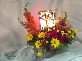 Cardinal Memory  Stained Glass lamp with fresh flowers