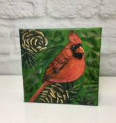 Cardinal on a Pine Cone  Acrylic Painting