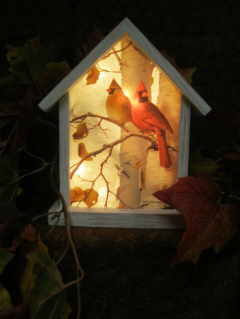 Cardinal on Birch Birdhouse Light Gift