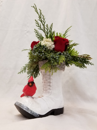 Cardinal on Boot SOLD OUT fresh arrangement with collectible boot